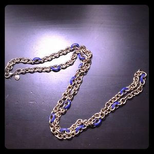 J.Crew Chain Necklace in Gold and Blue Enamel